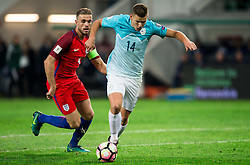 Jordan Henderson of England vs Roman Bezjak of Slovenia during football match between National teams of Slovenia and England in Round #3 of FIFA World Cup Russia 2018 Qualifier Group F, on October 11, 2016 in SRC Stozice, Ljubljana, Slovenia. Photo by Vid Ponikvar / Sportida