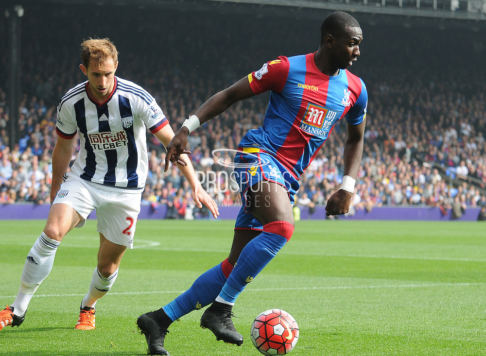Yannick Bolasie taking control of the ball during the Barclays Premier League match between Crystal Palace and West Bromwich Albion at Selhurst Park, London, England on 3 October 2015. Photo by Michael Hulf.