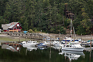 Yachts and smaller boats in Ganges Harbour on Salt Spring Island, British Columbia, Canada.  Moby's Pub is in the background.