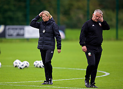 NEWPORT, WALES - Tuesday, August 28, 2018: Wales' manager Jayne Ludlow and Mike Murphy during a training session at Dragon Park ahead of the final FIFA Women's World Cup 2019 Qualifying Round Group 1 match against England. (Pic by David Rawcliffe/Propaganda)