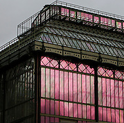 New Caledonia Glasshouse (formerly Mexican Hothouse), 1834, Charles Rohault de Fleury, Jardin des Plantes, Museum d'Histoire Naturelle, Paris, France. Detail of the metal and glass structure seen in the early morning light reflecting the sunrise.