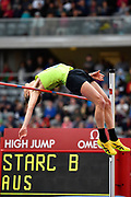 Brandon Starc (AUS) on his way to winning the men's High Jump at a height of 2.30m during the Birmingham Grand Prix, Sunday, Aug 18, 2019, in Birmingham, United Kingdom. (Steve Flynn/Image of Sport via AP)
