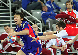Jaewoo Lee (24) of Korea during 21st Men's World Handball Championship 2009 Main round Group I match between National teams of Hungary and South Korea, on January 27, 2009, in Arena Zagreb, Zagreb, Croatia.  (Photo by Vid Ponikvar / Sportida)