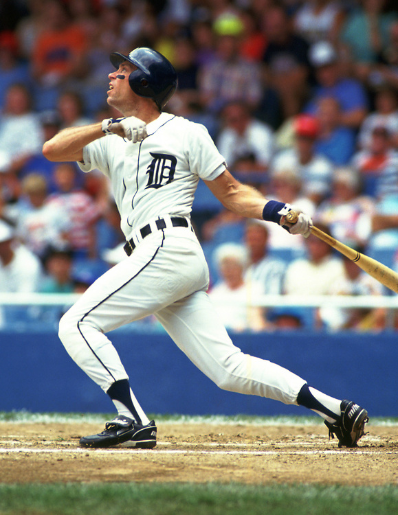 DETROIT - 1987:  Alan Trammell of the Detroit Tigers bats during an MLB game at Tiger Stadium in Detroit, Michigan during the 1987 season. (Photo by Ron Vesely).  Subject:   Alan Trammell