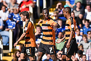 Barnet's Andy Yiadom celebrates his opening goal during the Sky Bet League 2 match between Portsmouth and Barnet at Fratton Park, Portsmouth, England on 12 September 2015. Photo by David Charbit.