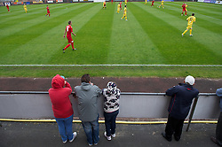 LLANELLI, WALES - Saturday, September 15, 2012: Supporters watch as Llanelli take on Newtown during the Welsh Premier League match at Stebonheath Park. (Pic by David Rawcliffe/Propaganda)