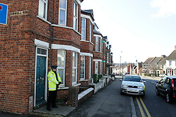 © Licensed to London News Pictures. 19/02/2012. Folkstone. UK. A man wanted by police over the killing of a vicar near Bristol has been arrested in a house in Black Bull Road, Kent. Stephen Farrow, 47, was arrested in Folkestone in the easy hours of the morning, 19 February 2012, on suspicion of the murder of the Reverend John Suddards. Photo credit : Grant Falvey/LNP