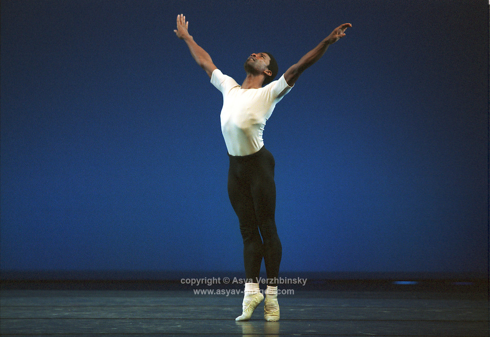"Eric Underwood in Dance Theatre of Harlem in George Balanchine's ""Four Temperaments""."