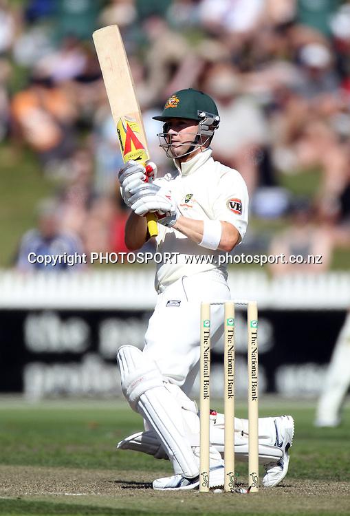 Australia's Michael Clarke batting.<br />Test Match Cricket. 2nd test. Day 1.<br />New Zealand Black Caps versus Australia. Seddon Park, Hamilton, New Zealand. Saturday 27 March 2010. <br />Photo: Andrew Cornaga/PHOTOSPORT