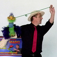 Tall Paul the Magician and his puppet Marv at his magic show at the Grants Public Library Friday in Grants.