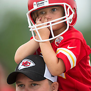 Paul Sarver, with his 4-year-old daughter Emma Sarver, drove across the country from his family's home in Richmond, Virginia, to see the Kansas City Chiefs training camp practice Tuesday morning at Missouri Western State University in St. Joseph, Mo.