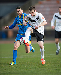 Gretna FC2008&rsquo;s Adam Main and Edinburgh City&rsquo;s Ian McFarland. <br /> Half time : Edinburgh City 0 v 0 Gretna FC2008, Scottish Sun Lowland League game played at Meadowbank Stadium, 28/3/2015.