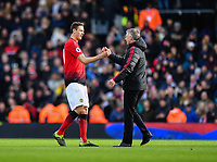 Football - 2018 / 2019 Premier League - Fulham vs. Manchester United<br /> <br /> Manchester United caretaker manager Ole Gunnar Solskjaer with Nemanja Matic after their 3-0 victory, at Craven Cottage.<br /> <br /> COLORSPORT/ASHLEY WESTERN