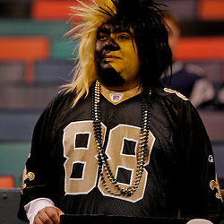 2009 November 30:  A New Orleans Saints fan in the stands before kickoff of a 38-17 win by the New Orleans Saints over the New England Patriots at the Louisiana Superdome in New Orleans, Louisiana.
