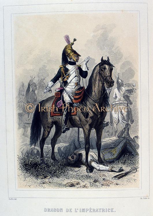 Dragoon of the Empress's Regiment.  From 'Napoleon 1er et la Garde Imperiale' by Eugene Fieffe, Paris, 1858.