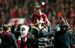 Josh Brownhill of Bristol City is lifted up onto the shoulders of fans after his side beat Manchester United in the Carabao Cup Quarter Final - Mandatory by-line: Robbie Stephenson/JMP - 20/12/2017 - FOOTBALL - Ashton Gate Stadium - Bristol, England - Bristol City v Manchester United - Carabao Cup Quarter Final