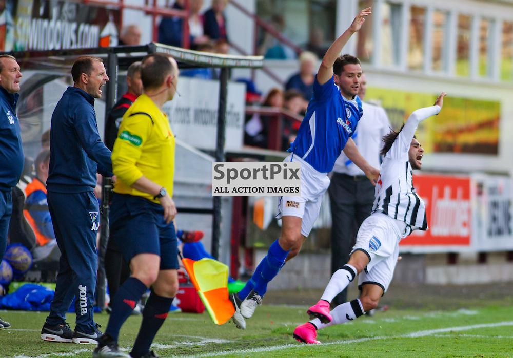 Dunfermline Athletic v Stranraer SPFL League One Season 2015/16 East End Park 29 August 2015<br /> Lee Mair takes out Faissal El Bahktaoui<br /> CRAIG BROWN | sportPix.org.uk