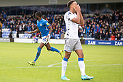 Macclesfield Town forward Arthur Gnahoua celebrates his goal during the EFL Sky Bet League 2 match between Macclesfield Town and Colchester United at Moss Rose, Macclesfield, United Kingdom on 28 September 2019.