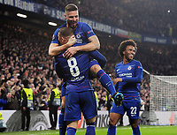 Football - 2018 / 2019 Europa League - Round of Thirty-Two, Second Leg: Chelsea (2) vs. Malmo FF (1)<br /> <br /> Ross Barkley of Chelsea celebrates scoring goal no 2, with Olivier Giroud at Stamford Bridge.<br /> <br /> COLORSPORT/ANDREW COWIE