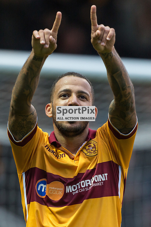 Lionel Ainsworth celebrates his goal during the match between Motherwell and Ross County (c) ROSS EAGLESHAM | Sportpix.co.uk