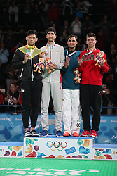 BUENOS AIRES, Oct. 12, 2018  Gold medalist Mohammadali Khosrarvi (2nd L) of Iran, silver medalist Lee Meng-En (1st L) of Chinese Taipei, bronze medalists Nisar Ahmad Abdul Rahimzai (2nd R) of Afghanistan and Ethan McClymont of Canada attend the awarding ceremony of the men's +73kg taekwondo event at the 2018 Summer Youth Olympic Games in Buenos Aires, Argentina on Oct. 11, 2018. (Credit Image: © Li Ming/Xinhua via ZUMA Wire)