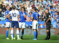 Football - 2019 / 2020 Premier League - Leicester City vs. Tottenham Hotspur<br /> <br /> Players wait for the decision of VAR for Serge Aurier's goal, which was disallowed, at The King Power Stadium.<br /> l-r. Jonny Evans, Harry Kane,Caglar Soyuncu, Ben Chilwell and Referee, Paul Tierney<br /> <br /> COLORSPORT/ANDREW COWIE