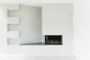 Architecture, Interiors of empty apartment, room with fireplace