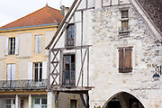Traditional medieval architecture in 13th Century bastide fortified town of Eymet in Aquitaine, France