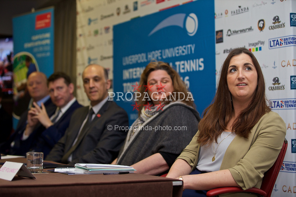 LIVERPOOL, ENGLAND - Monday, April 18, 2016: Kate Mylchreest, Royal Liverpool Hospital, during the launch of the 2016 Liverpool Hope University International Tennis Tournament at the Hilton Hotel. (Pic by David Rawcliffe/Propaganda)