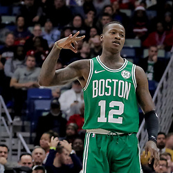 Nov 26, 2018; New Orleans, LA, USA; Boston Celtics guard Terry Rozier (12) celebrates a three point basket against the New Orleans Pelicans during the first quarter at the Smoothie King Center. Mandatory Credit: Derick E. Hingle-USA TODAY Sports