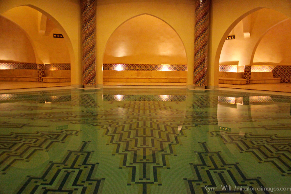 Africa, Morocco, Casablanca. The underground hamam and cleansing sinks of the Hassan II Mosque.