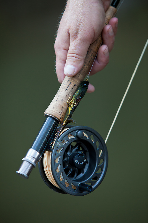 close up detail of an orvis rod and reel