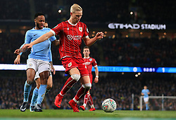 Hordur Magnusson of Bristol City and Raheem Sterling of Manchester City - Mandatory by-line: Matt McNulty/JMP - 09/01/2018 - FOOTBALL - Etihad Stadium - Manchester, England - Manchester City v Bristol City - Carabao Cup Semi-Final First Leg