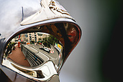 May 23-27, 2018: Monaco Grand Prix. Valtteri Bottas (FIN), Mercedes AMG Petronas Motorsport, F1 W09 EQ Power+ reflected in a Monaco marshals helmet