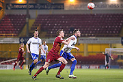 Bury midfielder Danny Mayor keeps his eye on the ball  during the The FA Cup match between Bradford City and Bury at the Coral Windows Stadium, Bradford, England on 19 January 2016. Photo by Simon Davies.