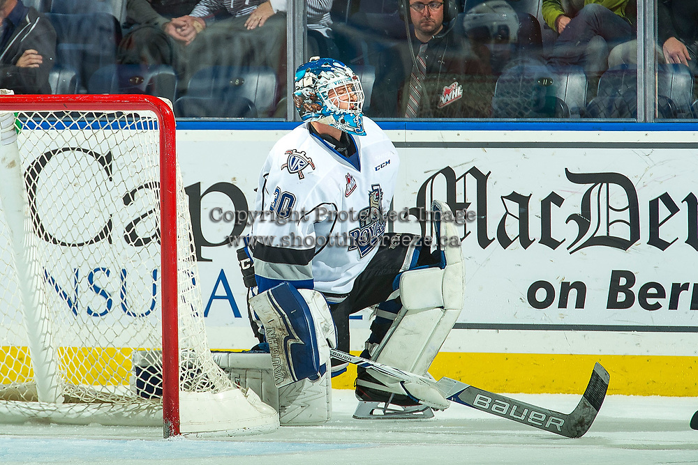 KELOWNA, CANADA - OCTOBER 4: Griffen Outhouse #30 of the Victoria Royals gets up from the ice against the Kelowna Rockets on October 4, 2017 at Prospera Place in Kelowna, British Columbia, Canada.  (Photo by Marissa Baecker/Shoot the Breeze)  *** Local Caption ***