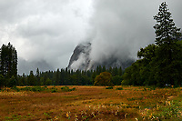 El Capitan Meadow in Yosemite Valley on a stormy autumn day with low clouds. Image taken with a Nikon D300 camera and 18-300 mm lens (ISO 200, 26 mm, f/8, 1/400 sec).