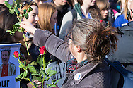 A woman hands out roses to striking junior doctors at St Thomas' Hospital, Westminster<br /> Picture by Paul Davey/Focus Images Ltd +447966 016296<br /> 26/04/2016