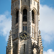 The octagonal top of the Belfry (bell tower) in the Markt (Market Square) in the historic center of Bruges, a UNESCO World Heritage site.