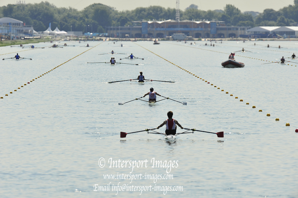Eton Dorney, Windsor, Great Britain,..2012 London Olympic Regatta, Dorney Lake. Eton Rowing Centre, Berkshire[ Rowing]...Description; . Start Area, Crews Training. 11:57:13   Wednesday  25/07/2012..[Mandatory Credit: Peter Spurrier/Intersport Images].