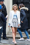 UNITED KINGDOM, London: 10 January 2018 Made in Chelsea star and I'm A Celebrity Get Me Out of Here 2017 winner Georgia Toffolo stands outside No. 10 Downing Street this morning. The realty TV star was spotted posing for pictures outside of the famous door as she spoke with a number of top Tories as the Conservatives try to reach out to younger voters. Rick Findler  / Story Picture Agency