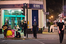 © Licensed to London News Pictures . 26/09/2017. Brighton, UK. Police attend to reports of a fight in Steine Gardens in the Kemptown area of the city . Revellers at the end of a night out in Brighton during Freshers week , when university students traditionally enjoy the bars and clubs during their first nights out in a new city . Photo credit: Joel Goodman/LNP