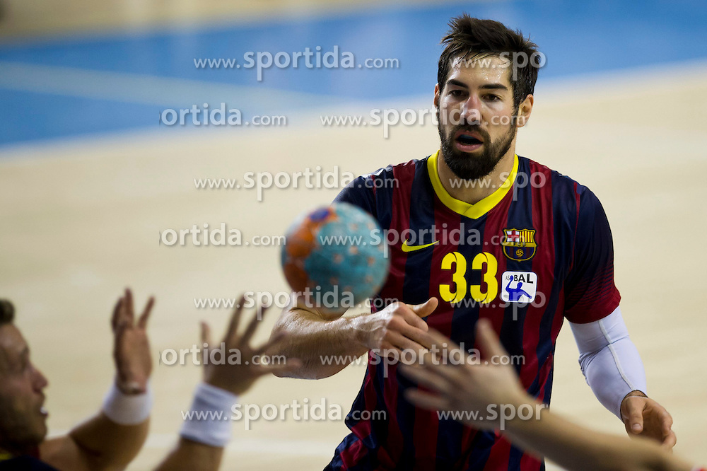 09.11.2013, Palau Blaugrana, Barcelona, ESP, Liga ASOBAL, FC Barcelona vs Frigorificos Morrazo, 9. Runde, im Bild FC Barcelona's Nikola Karabatic // FC Barcelona's Nikola Karabatic during the spanish Handball league ASOBAL 9th round match between FC Barcelona and Frigor&iacute;ficos at the Palau Blaugrana in Barcelona, Spain on 2013/11/10. EXPA Pictures &copy; 2013, PhotoCredit: EXPA/ Alterphotos/ Alex Caparros<br /> <br /> *****ATTENTION - OUT of ESP, SUI*****