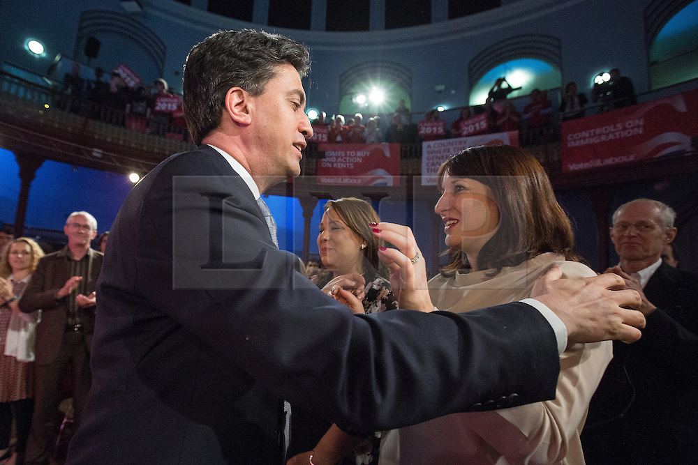 © Licensed to London News Pictures . 06/05/2015 . Leeds , UK . The leader of the Labour Party , ED MILIBAND , embraces Rachel Reeves after he addresses an election rally at Leeds City Museum , on the eve of polls opening for the 2015 British general election . Photo credit : Joel Goodman/LNP