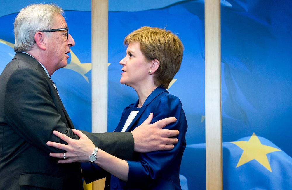 Brussels , 29/06/2016<br /> <br /> EC President Jean-Claude Juncker Meets With Nicola Sturgeon - Prime Minister Of Scotland .<br /> <br /> Pix : Jean-Claude Juncker , Nicola Sturgeon<br /> <br /> Credit : Melanie Wenger / Isopix