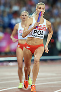 Great Britain, London - 2017 August 13: (R) Iga Baumgart (BKS Bydgoszcz) of Poland and (L) Malgorzata Holub (Baltyk Koszalin) of Poland compete in women's 4x400 meters relay final during IAAF World Championships London 2017 Day 10 at London Stadium on August 13, 2017 in London, Great Britain.<br /> <br /> Mandatory credit:<br /> Photo by © Adam Nurkiewicz<br /> <br /> Adam Nurkiewicz declares that he has no rights to the image of people at the photographs of his authorship.<br /> <br /> Picture also available in RAW (NEF) or TIFF format on special request.<br /> <br /> Any editorial, commercial or promotional use requires written permission from the author of image.