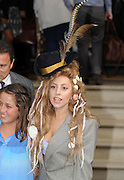28.AUGUST.2013. LONDON<br /> <br /> LADY GAGA LEAVES THE LANGHAM HOTEL WEARING A LARGE FEATHERED HAT AND SEA SHELLS IN HER HAIR, SHE MET WITH FANS AND POSED FOR PHOTOS<br /> <br /> BYLINE: EDBIMAGEARCHIVE.CO.UK<br /> <br /> *THIS IMAGE IS STRICTLY FOR UK NEWSPAPERS AND MAGAZINES ONLY*<br /> *FOR WORLD WIDE SALES AND WEB USE PLEASE CONTACT EDBIMAGEARCHIVE - 0208 954 5968*