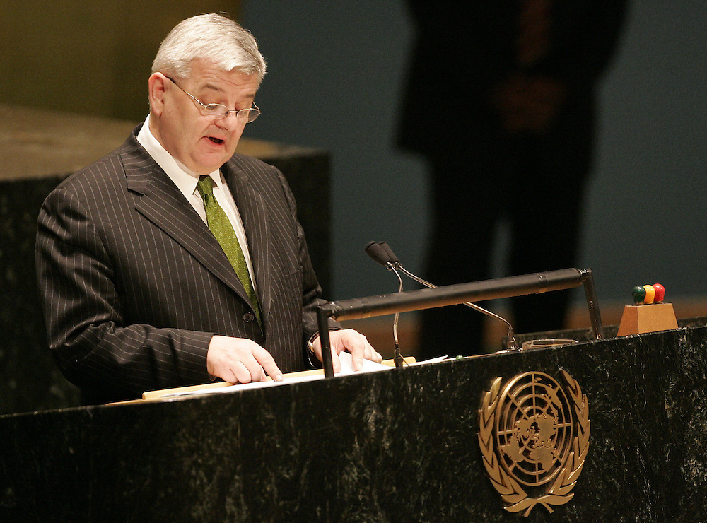 German Foreign Minister Joshka Fischer addresses the 2005 Review Conference of the Parties to the Treaty on the Non-Proliferation of Nuclear Weapons at United Nations headquarters in New York Monday 2 May 2005.
