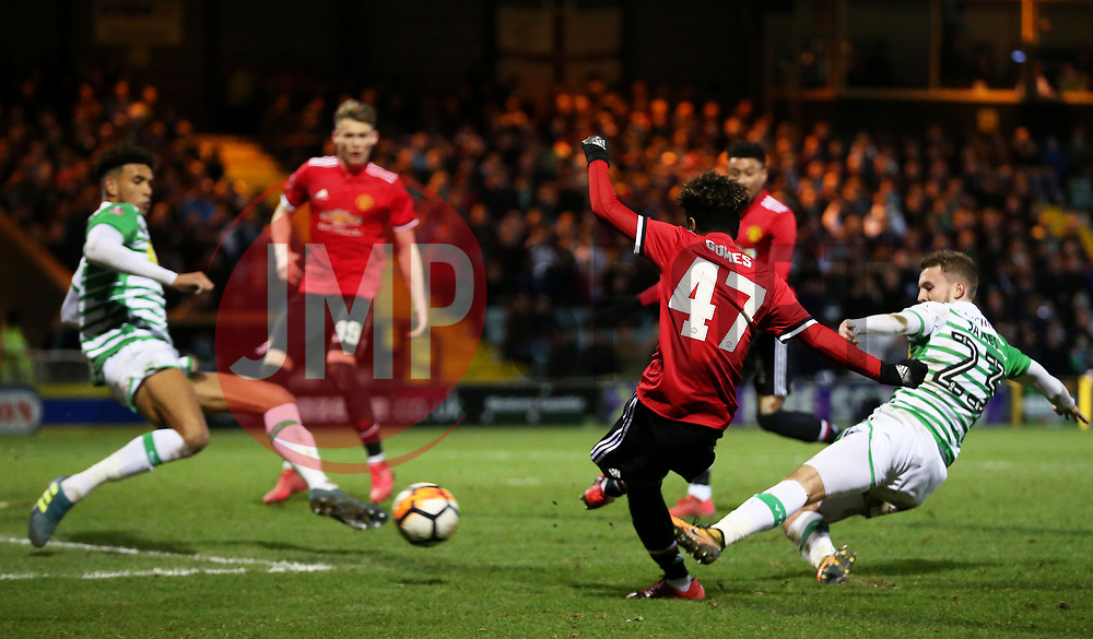 Angel Gomes of Manchester United fires a shot at goal - Rogan/JMP - 26/01/2018 - FOOTBALL - Huish Park - Yeovil, England - Yeovil Town v Manchester United - FA Cup Fourth Round.