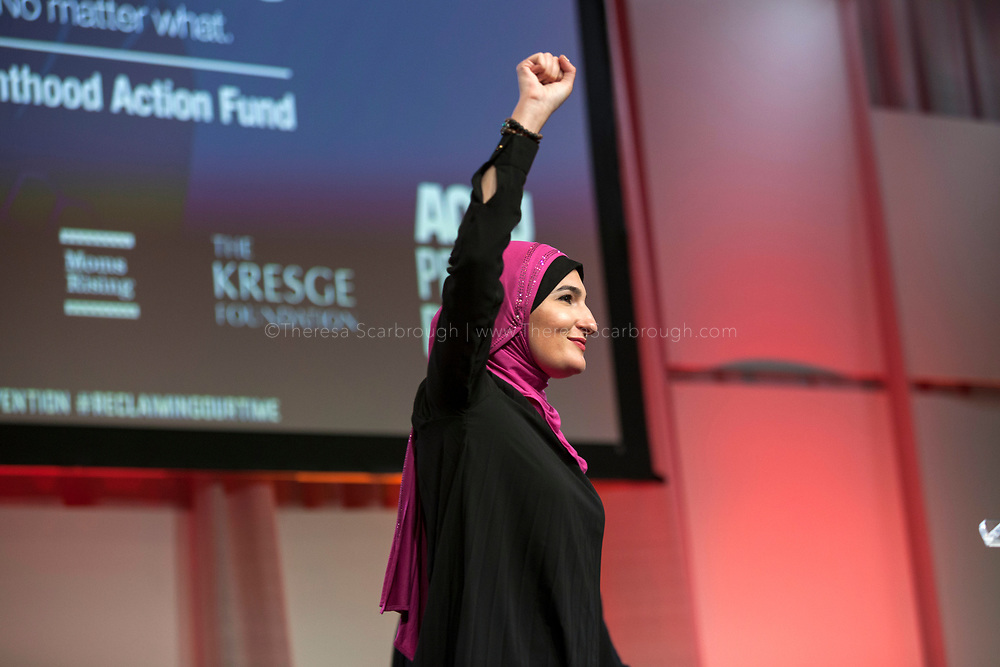 Linda Sarsour, National Co-Chair, Women's March, speaks at the opening session of the Women's Convention at the Cobo Center, Detroit Michigan, Friday, October 27, 2017